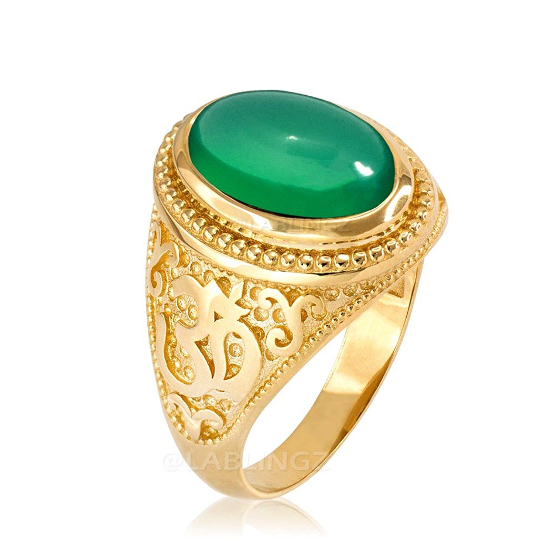 14K Yellow Gold Om (Aum) Yoga Green Onyx Statement Ring