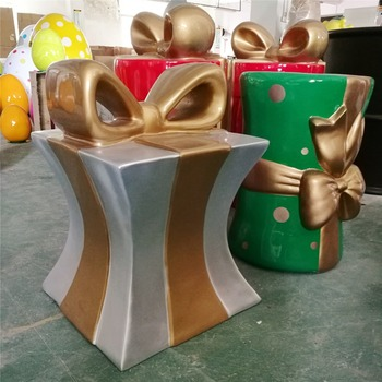 outdoor big size colorful fiberglass gift box for christmas decoration statue - Fiberglass Christmas Decorations