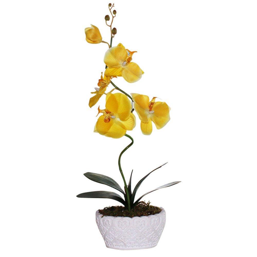 "Huazhiwu 20"" Silk Phalaenopsis Artificial Flowers Single Orchid Arrangements 3315, Yellow"