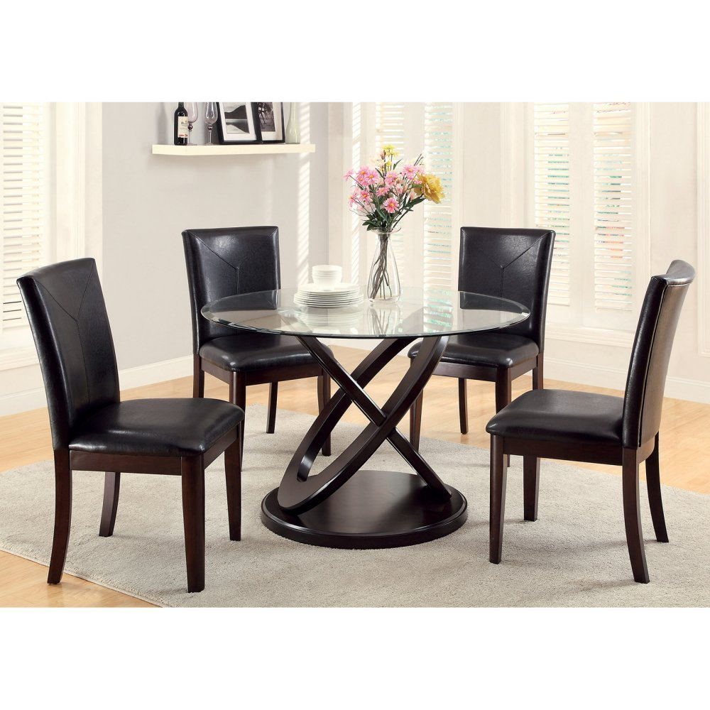 Get Quotations Furniture Of America Ollivander 5 Piece Glass Top Dining Table Set