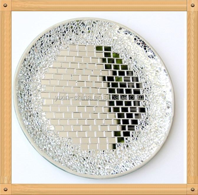 Argento specchio decorativo a mosaico lastre di vetro forma rotonda piatti piani economico per - Lastre di specchio ...