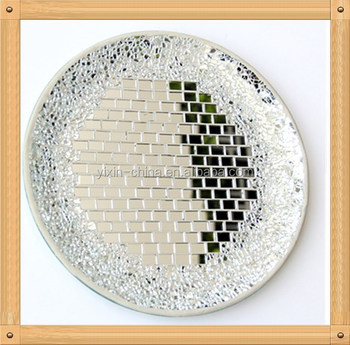 Decorative Dinner Plates Alluring Silver Mirror Decorative Mosaic Glass Plates Round Shape Cheap Design Inspiration