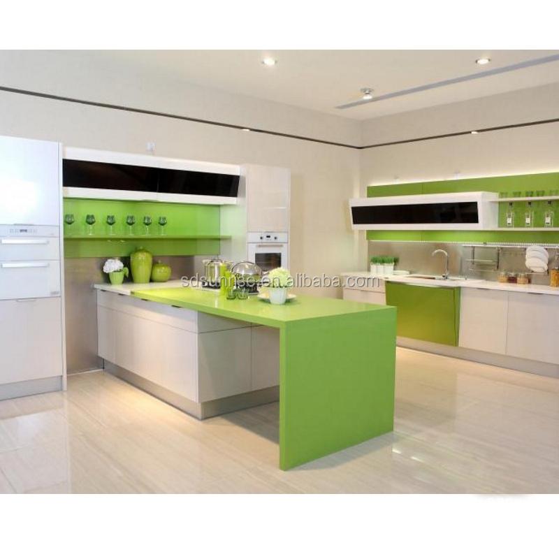 Personalizzato Nuova idea acrilico armadio da cucina con cucina armadio isola per appartamento progetto