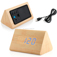 Modern Triangle Wood LED Wooden Alarm Digital Desk Clock Thermometer Classical Timer Calendar
