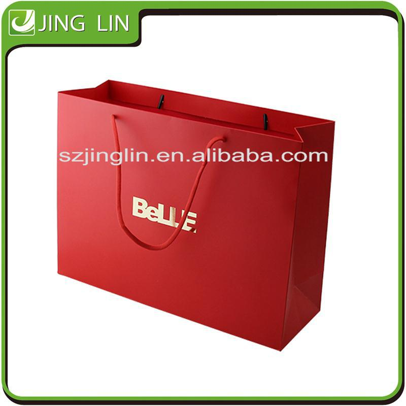 a4 paper size red shopping paper carry bag with custom printing