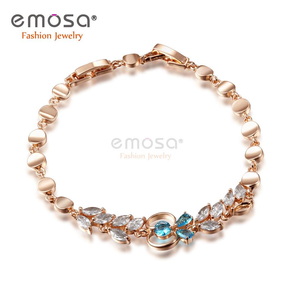Gold Link Bracelet Womens: Emosa Jewelry Bracelets 18K Rose Gold Plated Chain&Link