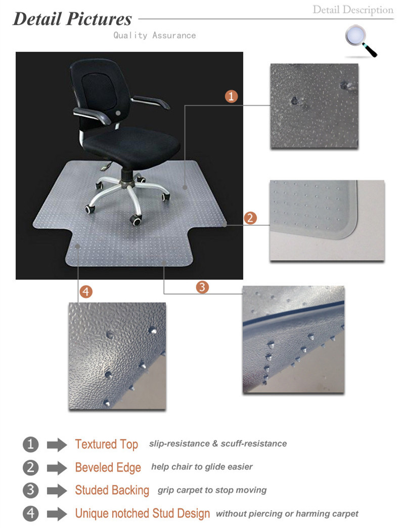 Lip Shape Non-Studded Chair Mat