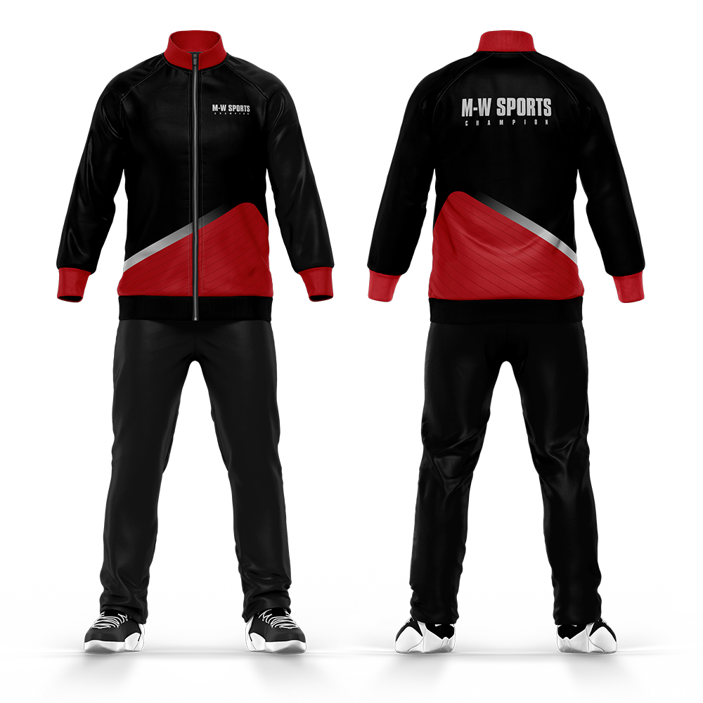 China Cheap Tracksuit Custom Logos And Pattrns 100% Polyester Sublimation Black And Red School Uniform Tracksuit фото