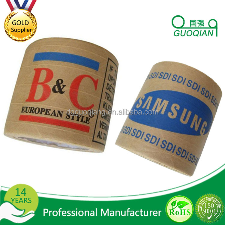 HOT SELL Water Activated Reinforce Kraft Paper Gummed Tape With Custom Printed Logo
