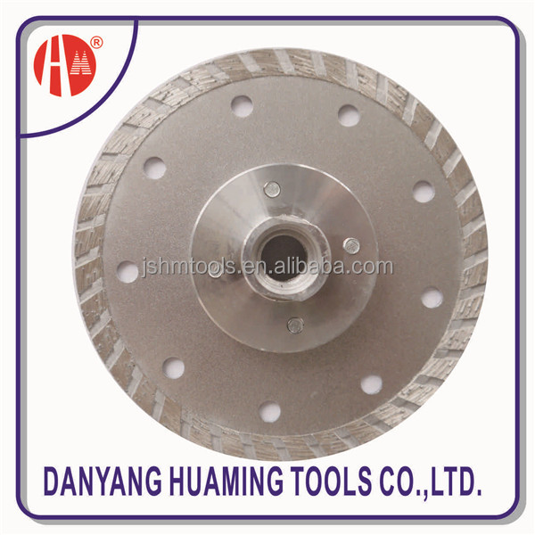 Turbo Wave Diamond Saw Blade with flange for Granite and Concrete and marble