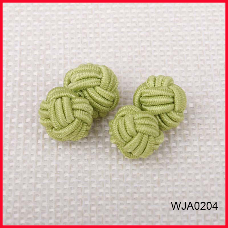 Fresh Yellow Color Silk Knot Cufflinks for Men