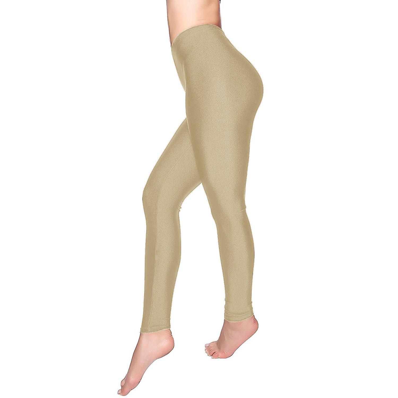 4677ee42d0ba5 Get Quotations · DCOIKO Women's Shiny Nylon Stretchy Skinny Dance Leggings  Pants