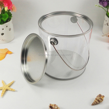 Hot sale food grade plastic transparent PVC round tin container