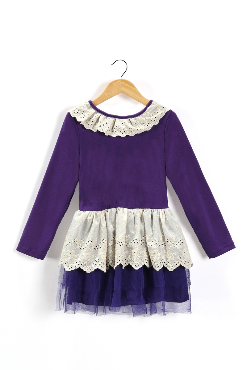 2015 new spring hot-selling baby dresses baby girl's lace clothing knee-length children fashion drenss