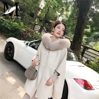 New Design Fashion Stylish Autumn Winter Ladies Casual Wear Cashmere Wool Long Coat Women Wool Coat with Fur Collar
