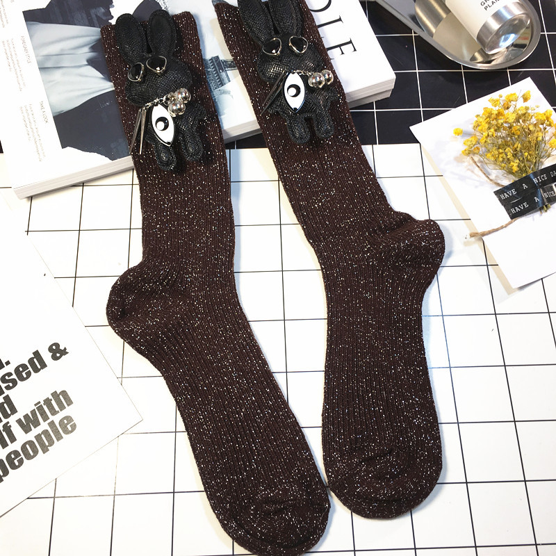 bfa76deae Sequins women glitter shimmer long tube under knee or heap socks with cute  doll Bunny