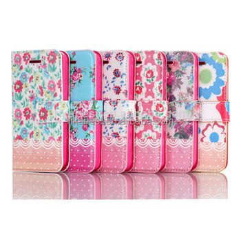 flower design cell phone case for iphone 5 5s,wallet cover case