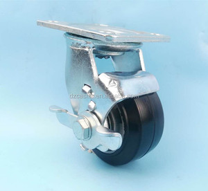 4inch 100mm double ball bearing heavy duty aluminum core elastic rubber hand trolley swivel caster with brake wheel