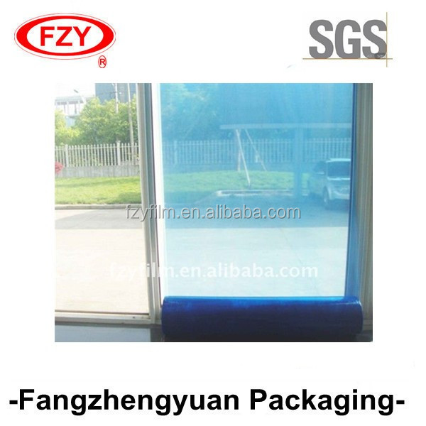 blue and transparent window glass PE protective film for protection and no glue residue