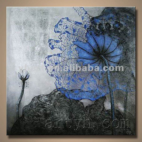 Hot Sell Handmade Blue Flowers Blue Oil Painting Canvas