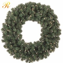 Green Artificial Christmas Wreath With Pine Needle And LED Lights