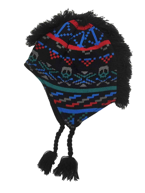 e2bbbe17b06 Get Quotations · Aquarius Boys Colorful Black Skull Mohawk Hat Fringe  Peruvian Style Trapper