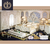 antique white delicate carved king size double bed expensive bedroom furniture solid wood classic and french style bed