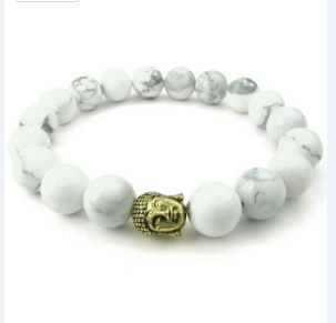 Handmake Trendy Christmas Lovely White Onxy Natural Agate Beads Metal Beads Budhha Charms Bracelet Jewelry