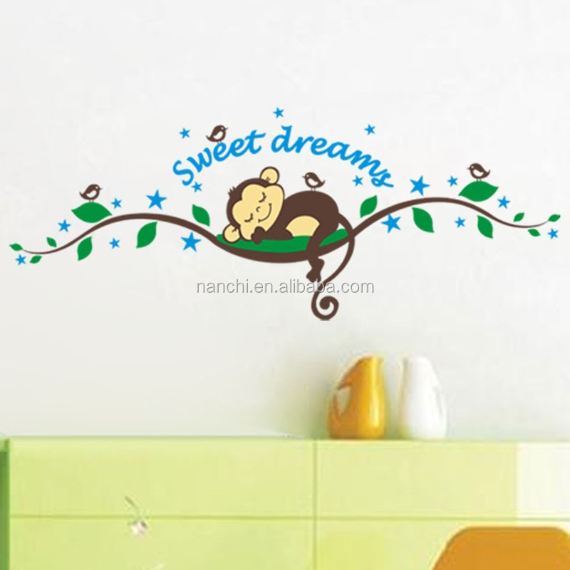 Sweet dream Wall Stickers Monkey Sticker kids Baby children Decor Home Wall Paper Decal Art Sticker New,Big
