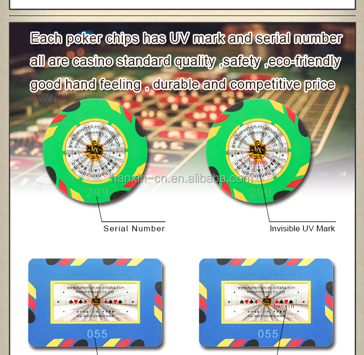 Durable rectangle poker chips light weight RFID casino chip