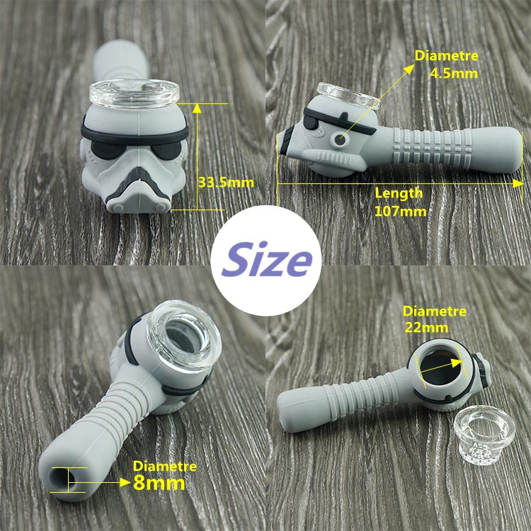 "4/"" Star Wars Smoking Silicon Hand Pipe  w// glass bowl"