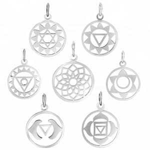 Yiwu Aceon Stainless Steel Yoga Meditation Pendants Round Hollow Chakra Yoga OM Buddhist Charm