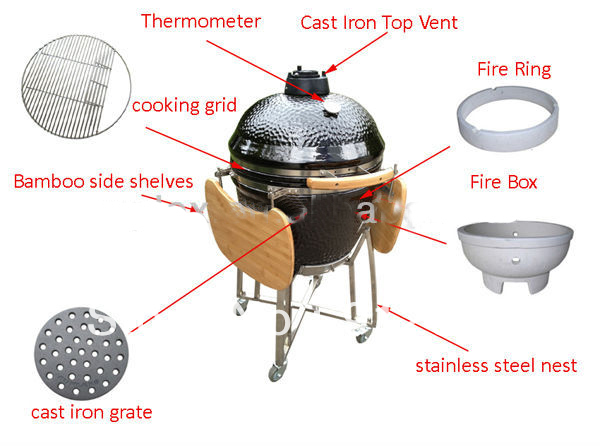 23 Inch Big Ceramic Pressure Barbeque Cooker Big Smokers BBQ Charcoal Grill