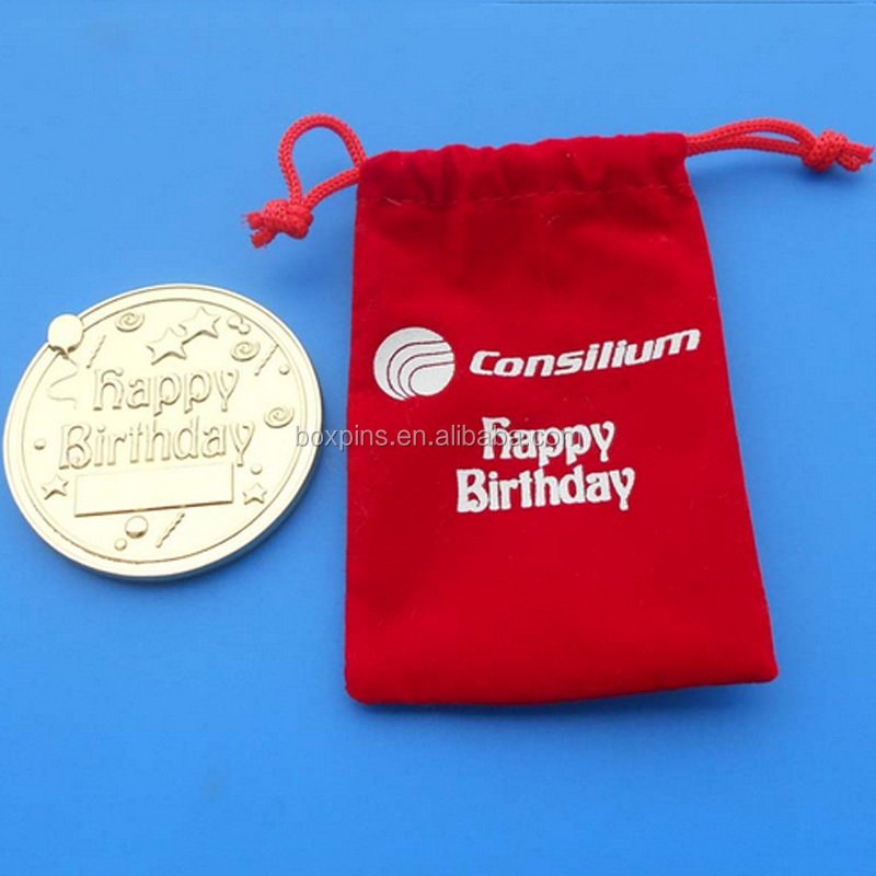 red velvet pouch packed luxurious gold birthday coin