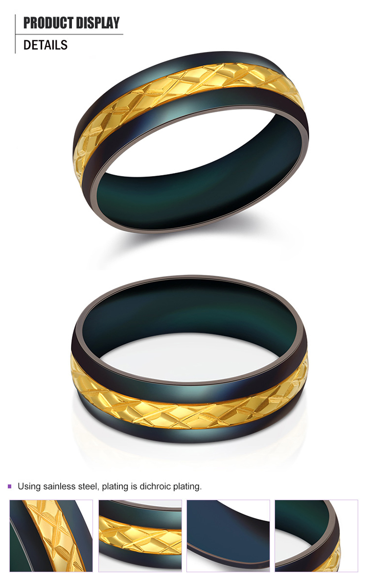product-Classic Design Black Stainless Steel Gold Band Rings-BEYALY-img