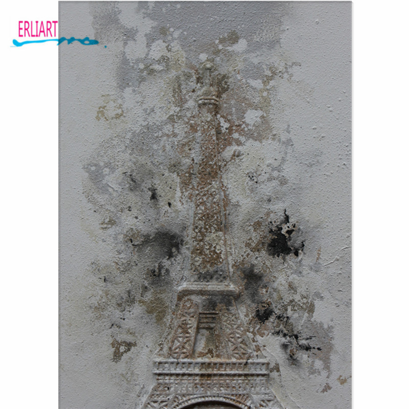 Embossed Oil Painting Eiffel Tower Western Modern Lyric Big Canvas Art Style Murals Home Wall Decor Painting