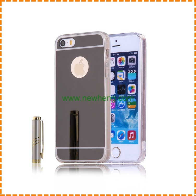 Luxury Mirror Electroplating Soft Clear TPU Phone Case For iphone 5 5s