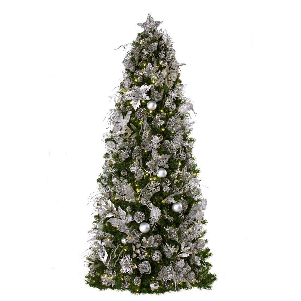 7.5 Ft Easy Set Up Christmas Tree Pre-lit and decorated with Shimmering Frost decor