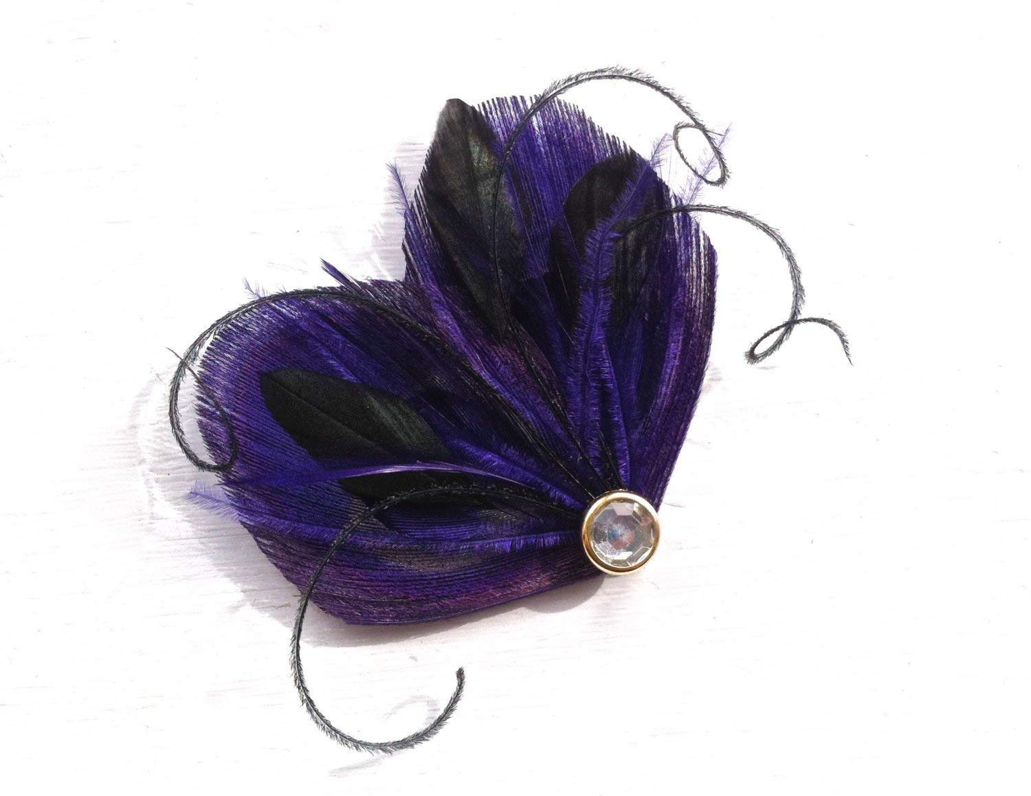 Oh Lucy Handmade DREAM Peacock Feather Hair Clip, Feather Fascinator in Dark Purple and Black