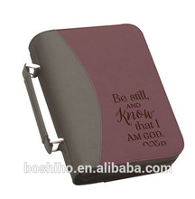 Customized design leather book cover bible cover with zipper