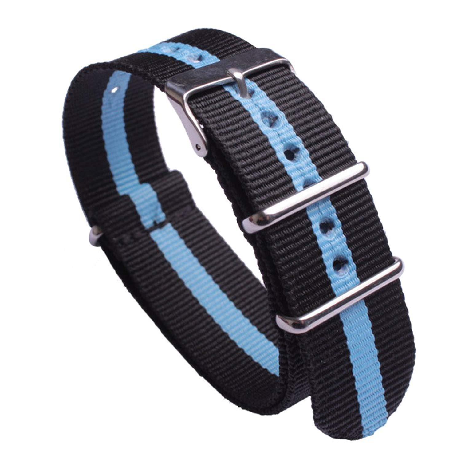 Black and Blue Nylon Watch Strap Regimental NATO Watch Band for Men Wristband Width 18mm 20mm 22mm 24mm