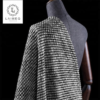 black and white loop yarn show heavy original high wool content high-end tweed coat cloth fabric