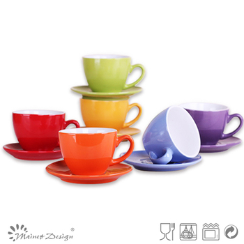 5oz Colorful Ceramic Cup And Saucer Set/cheap Ceramic Coffee Cup And ...