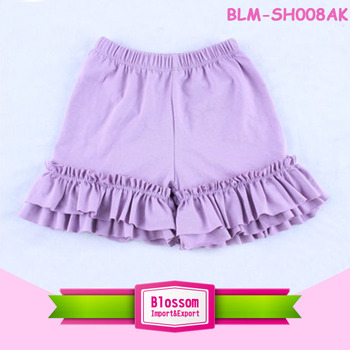 2018 hot sale children clothes girls lilac leggings ruffle baby girls shorts