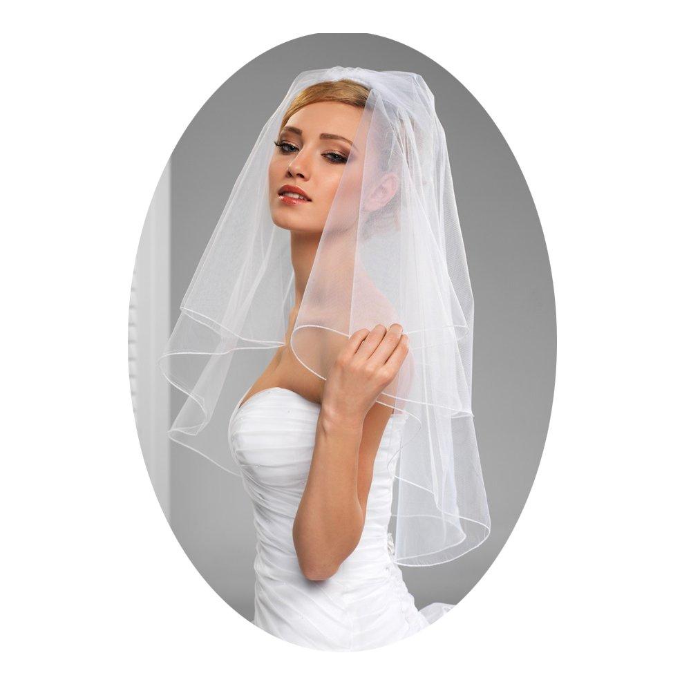 L'ivresse 2 Layers Short Bridal Veil Wedding With Comb Pencil Edge bachelorette