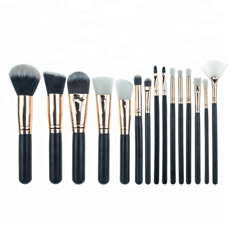 15 stks Synthetische Private Label Professionele borstel make up borstel set make Rose Gold Cosmetische Gereedschap