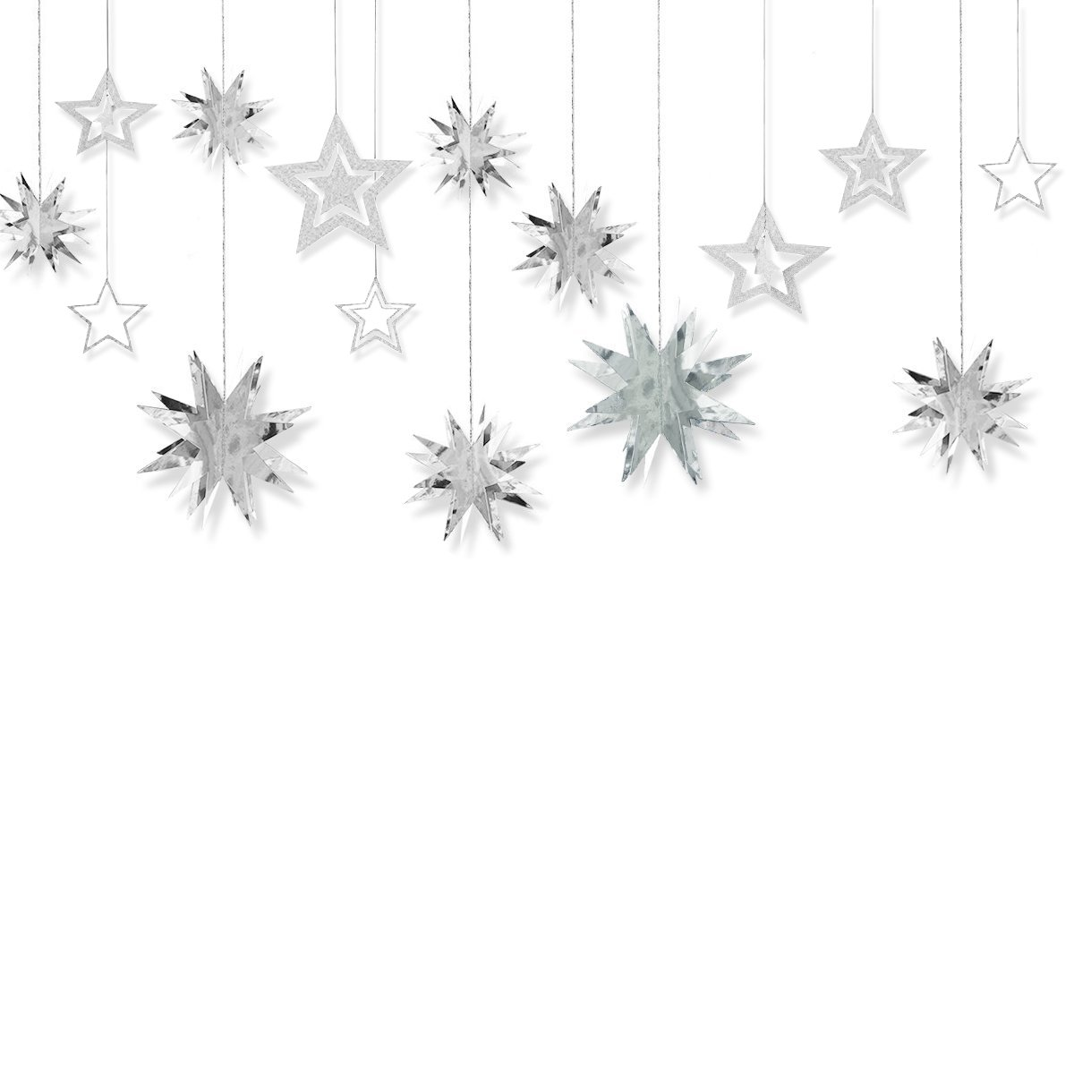 Glitter Twinkle Star Hanging Garland - Sparkly Paper Five-pointed Bunting Banner for Wedding, Kids Room Decoration, Birthday Party, Baby Shower, Silver, 13 pcs