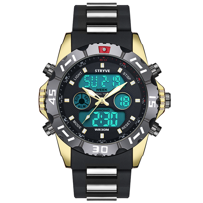 Stryve 8010 Brand Luxury Dual Display Quartz Digital Male Led Clock Military Heavy Dial Waterproof Men Sport Watch фото