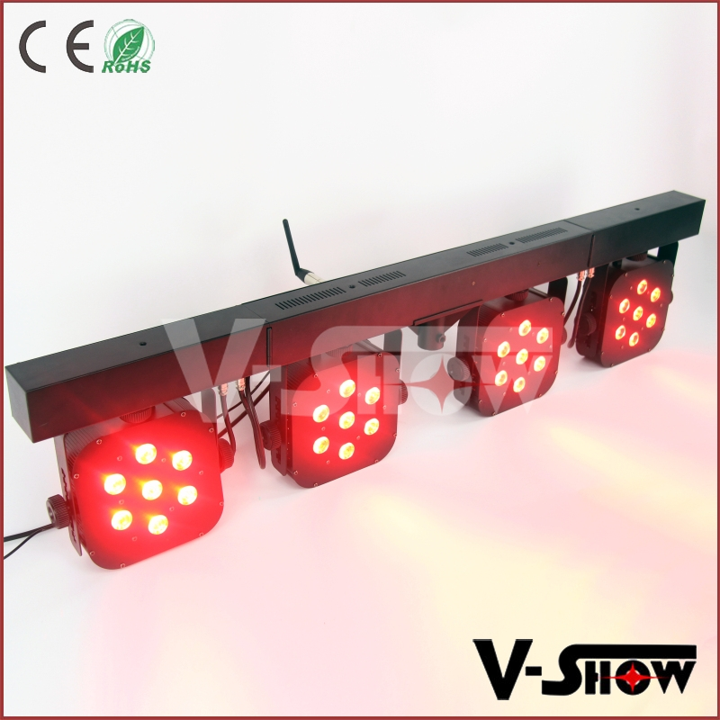 Bright led par stage light 28x10w quad flat par RGBW dj stage system with foot controller