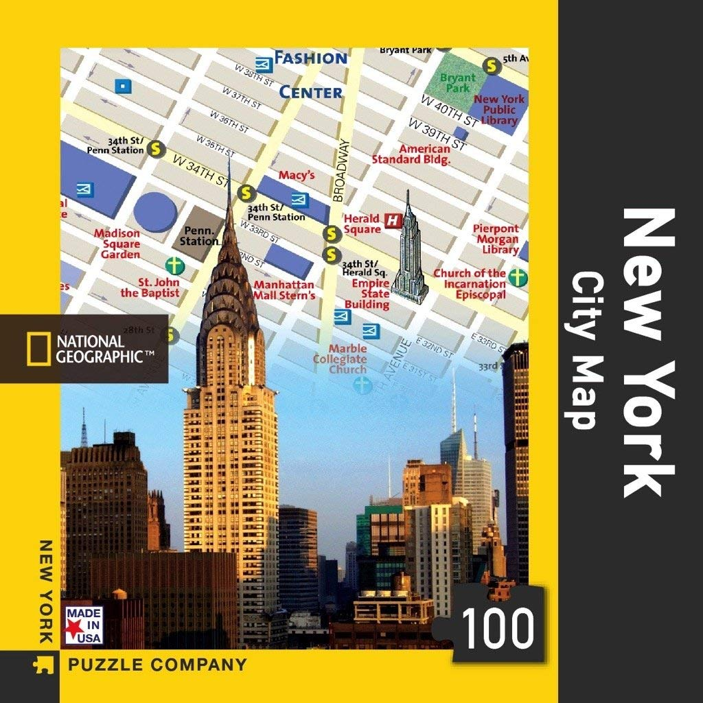 New York Puzzle Company - National Geographic New York City Map - 100 Piece Jigsaw Puzzle